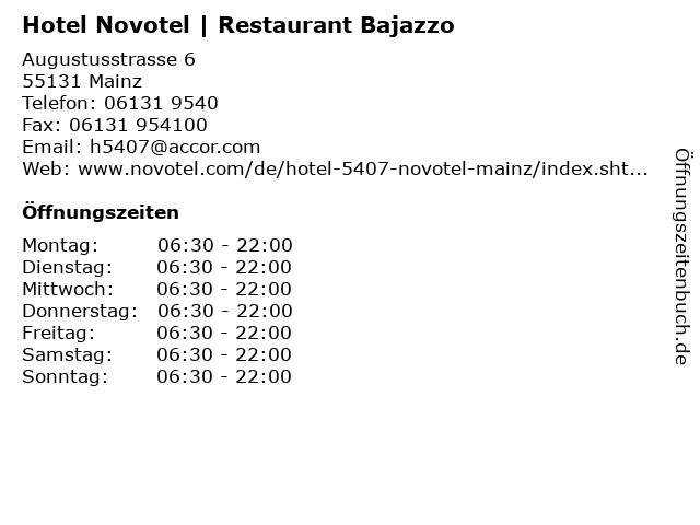 Hotel Novotel | Restaurant Bajazzo in Mainz: Adresse und Öffnungszeiten
