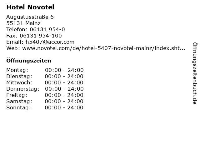 Hotel Novotel in Mainz: Adresse und Öffnungszeiten