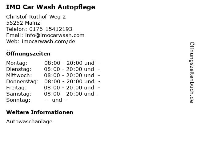 IMO Car Wash Autopflege in Mainz: Adresse und Öffnungszeiten