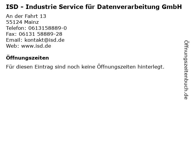 ISD - Industrie Service für Datenverarbeitung GmbH in Mainz: Adresse und Öffnungszeiten