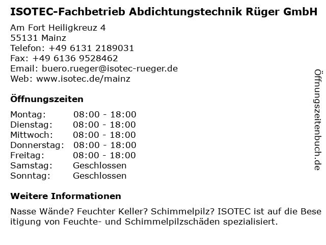 ISOTEC-Fachbetrieb Abdichtungstechnik Rüger GmbH in Mainz: Adresse und Öffnungszeiten