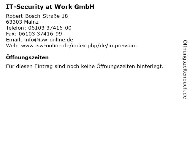IT-Security at Work GmbH in Mainz: Adresse und Öffnungszeiten
