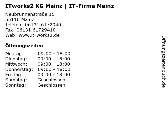 ITworks2 KG Mainz | IT-Firma Mainz in Mainz: Adresse und Öffnungszeiten
