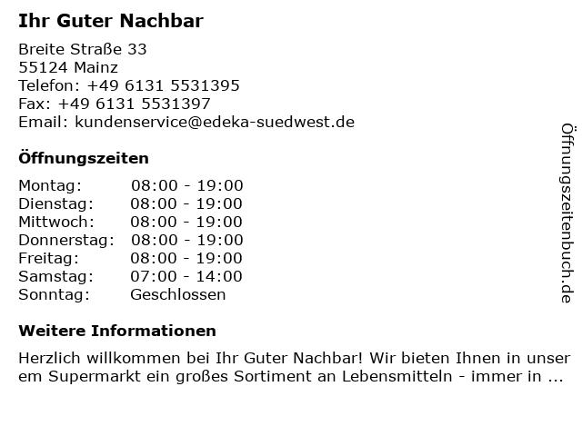 Ihr Guter Nachbar in Mainz: Adresse und Öffnungszeiten