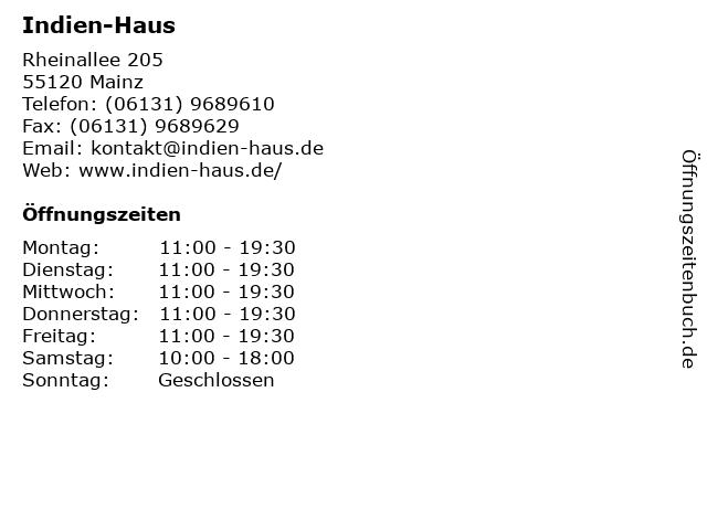 ᐅ öffnungszeiten Indien Haus Rheinallee 205 In Mainz