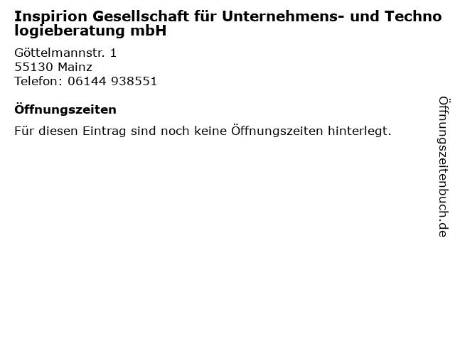 Inspirion Gesellschaft für Unternehmens- und Technologieberatung mbH in Mainz: Adresse und Öffnungszeiten