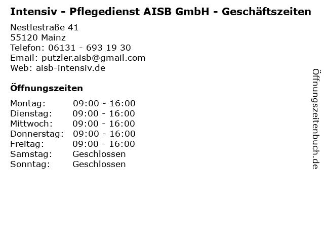 Intensiv - Pflegedienst AISB GmbH - Geschäftszeiten in Mainz: Adresse und Öffnungszeiten