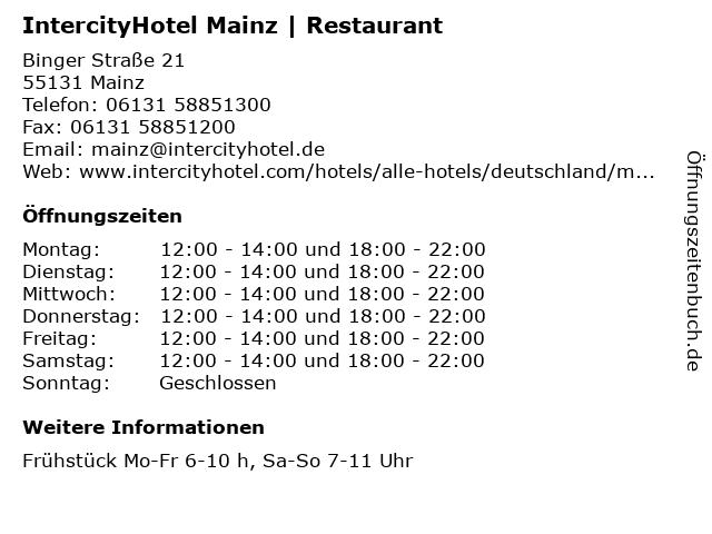 IntercityHotel Mainz   Restaurant in Mainz: Adresse und Öffnungszeiten