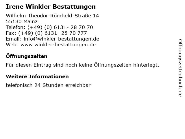 Irene Winkler Bestattungen in Mainz: Adresse und Öffnungszeiten