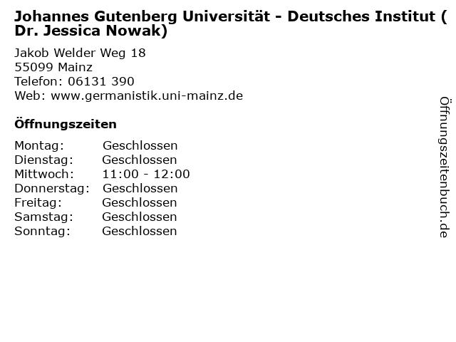 Johannes Gutenberg Universität - Deutsches Institut (Dr. Jessica Nowak) in Mainz: Adresse und Öffnungszeiten