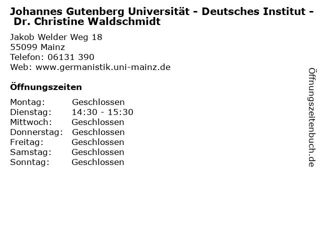 Johannes Gutenberg Universität - Deutsches Institut - Dr. Christine Waldschmidt in Mainz: Adresse und Öffnungszeiten