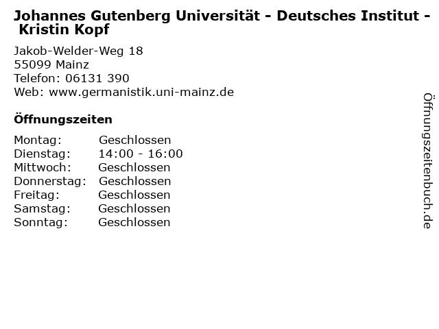 Johannes Gutenberg Universität - Deutsches Institut - Kristin Kopf in Mainz: Adresse und Öffnungszeiten