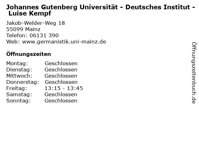 Johannes Gutenberg Universität - Deutsches Institut - Luise Kempf in Mainz: Adresse und Öffnungszeiten