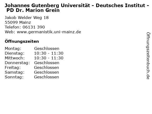 Johannes Gutenberg Universität - Deutsches Institut - PD Dr. Marion Grein in Mainz: Adresse und Öffnungszeiten
