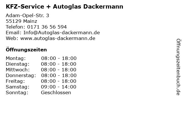 KFZ-Service + Autoglas Dackermann in Mainz: Adresse und Öffnungszeiten