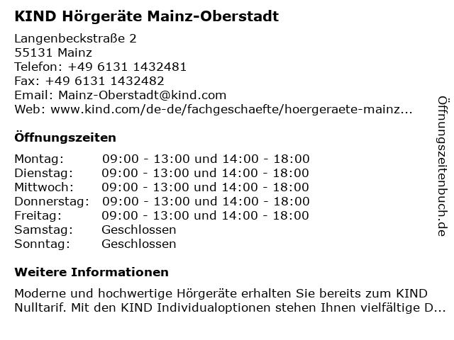 KIND Fachgeschäft in Mainz: Adresse und Öffnungszeiten