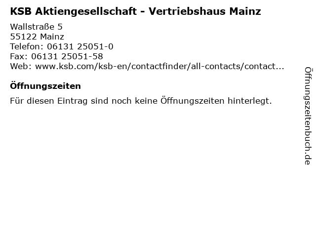 KSB Aktiengesellschaft - Vertriebshaus Mainz in Mainz: Adresse und Öffnungszeiten