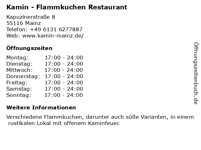 ᐅ öffnungszeiten Kamin Flammkuchen Restaurant Kapuzinerstraße