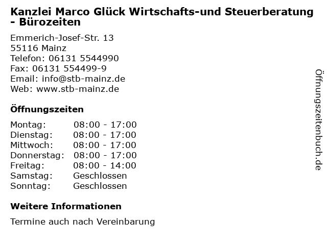 Kanzlei Marco Glück Wirtschafts-und Steuerberatung in Mainz: Adresse und Öffnungszeiten
