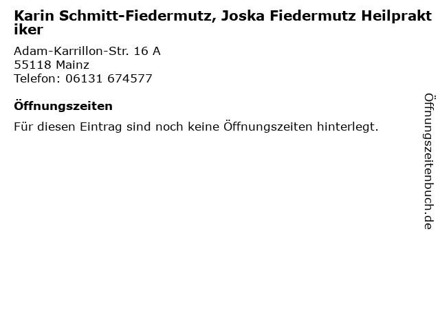 Karin Schmitt-Fiedermutz, Joska Fiedermutz Heilpraktiker in Mainz: Adresse und Öffnungszeiten