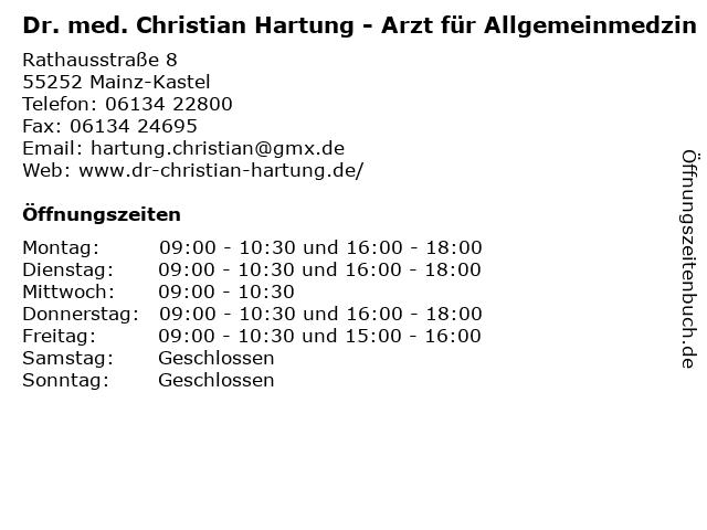 Dr. med. Christian Hartung in Mainz-Kastel: Adresse und Öffnungszeiten