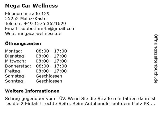 Mega Car Wellness in Mainz-Kastel: Adresse und Öffnungszeiten