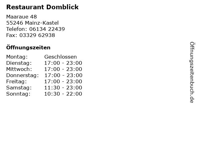 Restaurant Domblick in Mainz-Kastel: Adresse und Öffnungszeiten