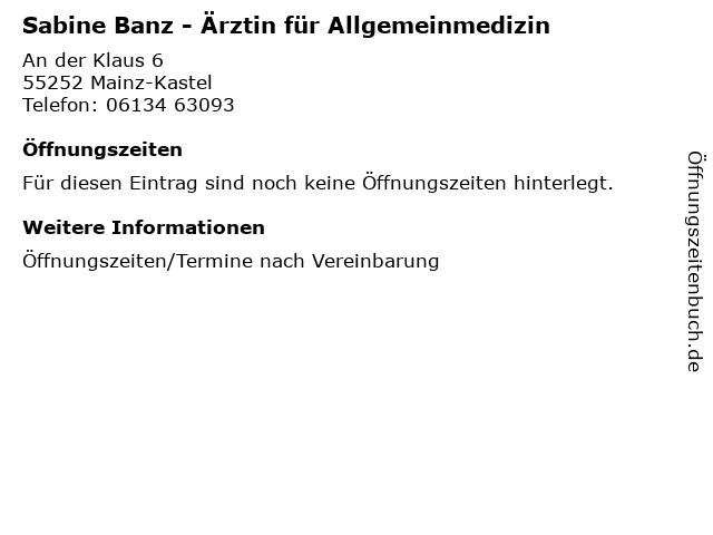 Sabine Banz - Ärztin für Allgemeinmedizin in Mainz-Kastel: Adresse und Öffnungszeiten