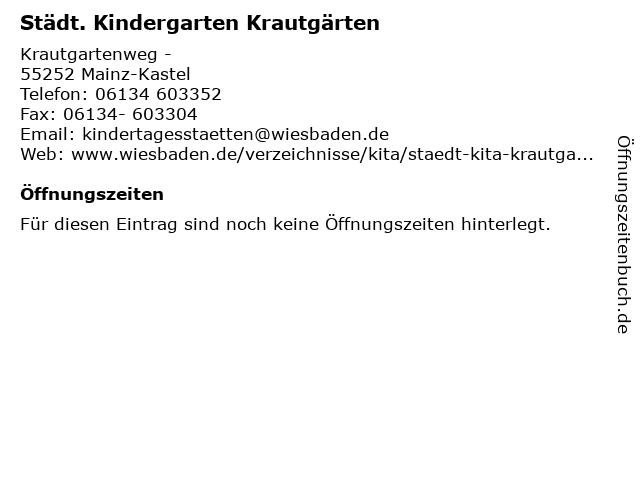 Städt. Kindergarten Krautgärten in Mainz-Kastel: Adresse und Öffnungszeiten
