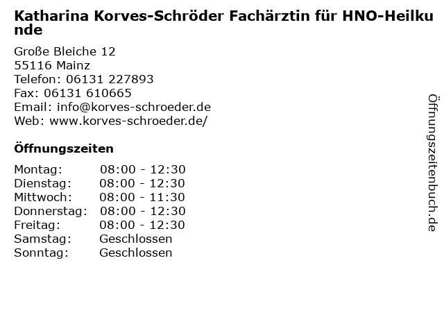 Katharina Korves-Schröder Fachärztin für HNO-Heilkunde in Mainz: Adresse und Öffnungszeiten