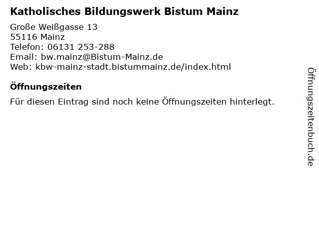 Katholisches Bildungswerk Bistum Mainz in Mainz: Adresse und Öffnungszeiten