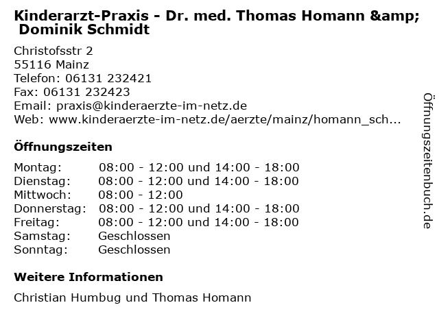 Kinderarzt-Praxis - Dr. med. Thomas Homann & Dominik Schmidt in Mainz: Adresse und Öffnungszeiten