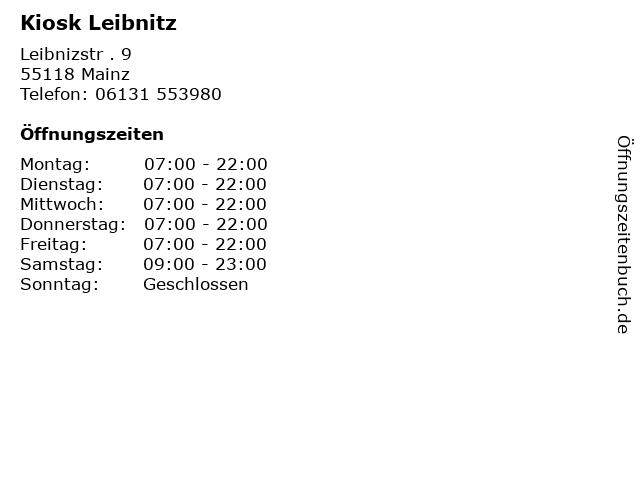 Kiosk Leibnitz in Mainz: Adresse und Öffnungszeiten