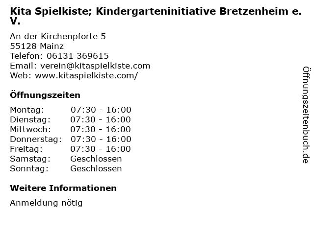 Kita Spielkiste; Kindergarteninitiative Bretzenheim e.V. in Mainz: Adresse und Öffnungszeiten