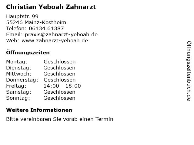 Christian Yeboah Zahnarzt in Mainz-Kostheim: Adresse und Öffnungszeiten