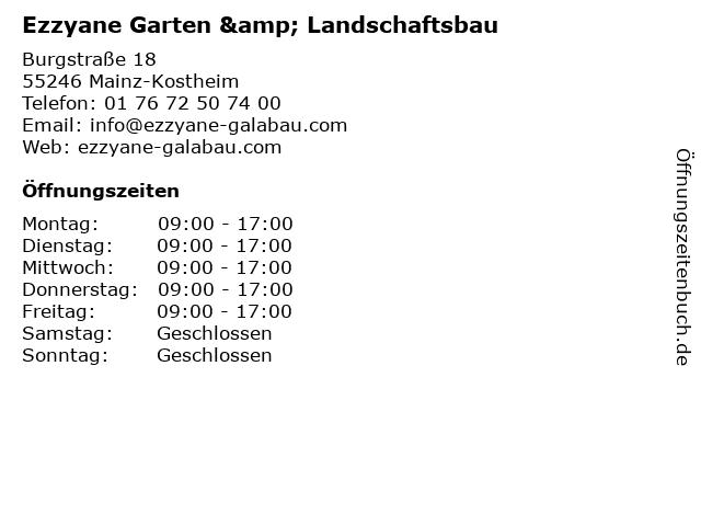 Ezzyane Garten & Landschaftsbau in Mainz-Kostheim: Adresse und Öffnungszeiten