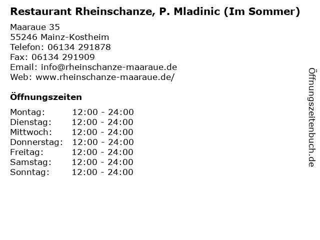 Restaurant Rheinschanze, P. Mladinic (Im Sommer) in Mainz-Kostheim: Adresse und Öffnungszeiten