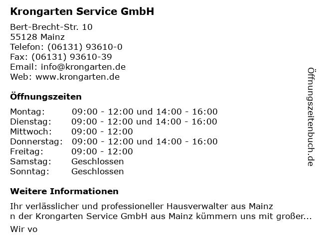Krongarten Service GmbH in Mainz: Adresse und Öffnungszeiten