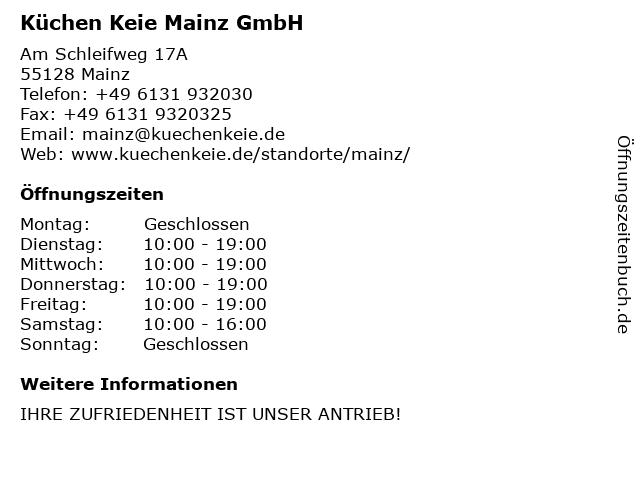 ᐅ Offnungszeiten Kuchen Keie Mainz Gmbh Am Schleifweg