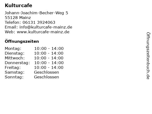 Kulturcafe in Mainz: Adresse und Öffnungszeiten