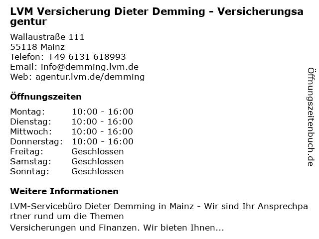 LVM Versicherung Dieter Demming - Versicherungsagentur in Mainz: Adresse und Öffnungszeiten
