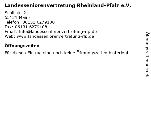 Landesseniorenvertretung Rheinland-Pfalz e.V. in Mainz: Adresse und Öffnungszeiten
