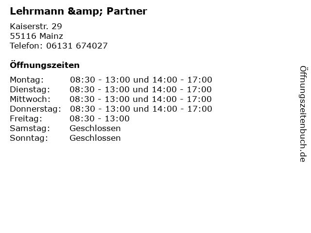 Lehrmann & Partner in Mainz: Adresse und Öffnungszeiten