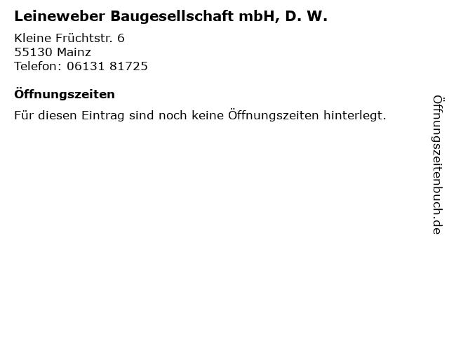 Leineweber Baugesellschaft mbH, D. W. in Mainz: Adresse und Öffnungszeiten