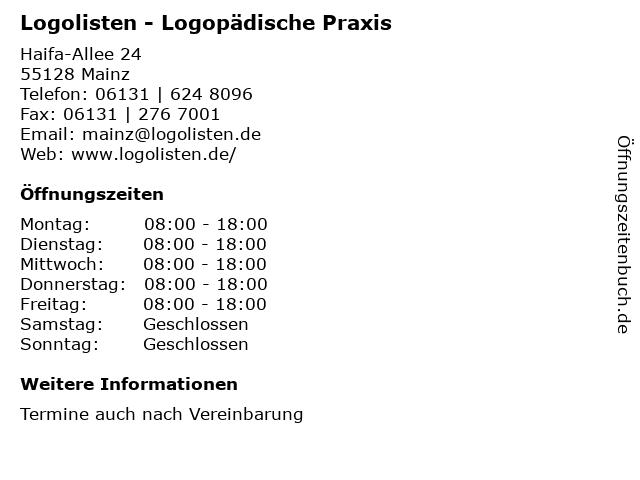 Logolisten - Logopädische Praxis in Mainz: Adresse und Öffnungszeiten