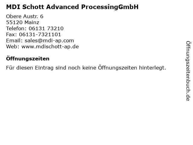 MDI Schott Advanced ProcessingGmbH in Mainz: Adresse und Öffnungszeiten