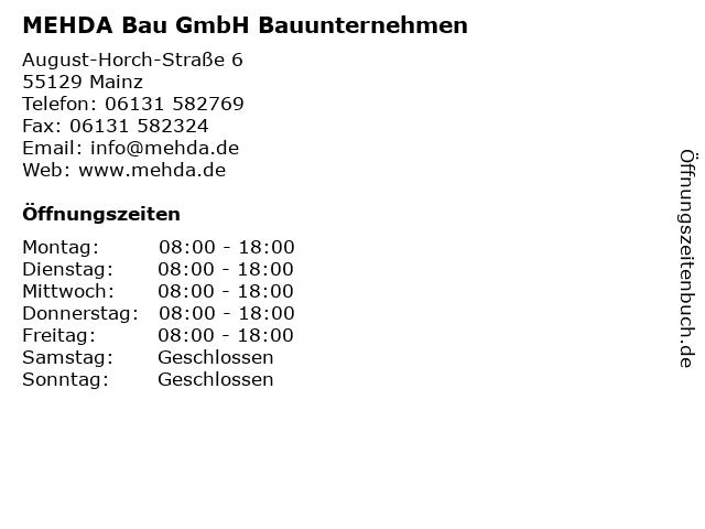 MEHDA Bau GmbH Bauunternehmen in Mainz: Adresse und Öffnungszeiten