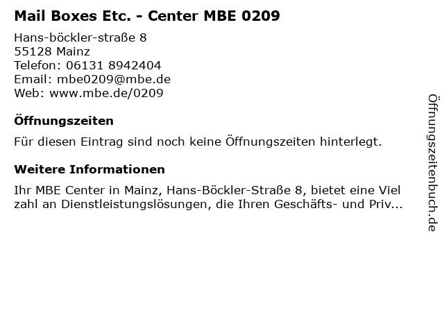 Mail Boxes Etc. - Center MBE 0209 in Mainz: Adresse und Öffnungszeiten