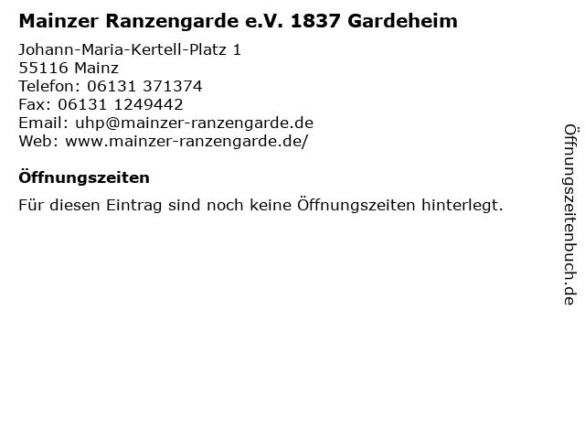 Mainzer Ranzengarde e.V. 1837 Gardeheim in Mainz: Adresse und Öffnungszeiten