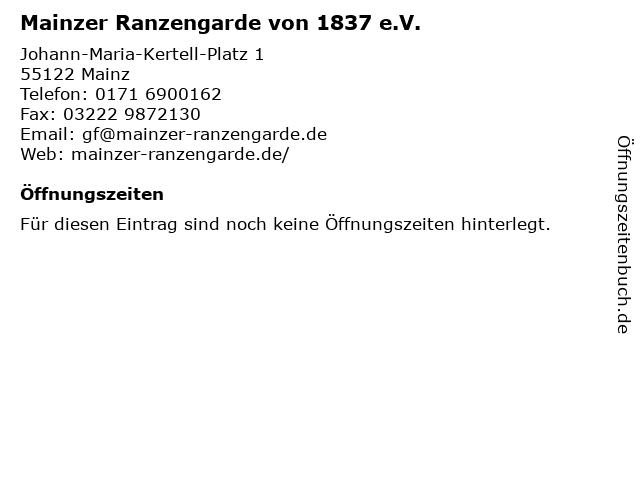 Mainzer Ranzengarde von 1837 e.V. in Mainz: Adresse und Öffnungszeiten